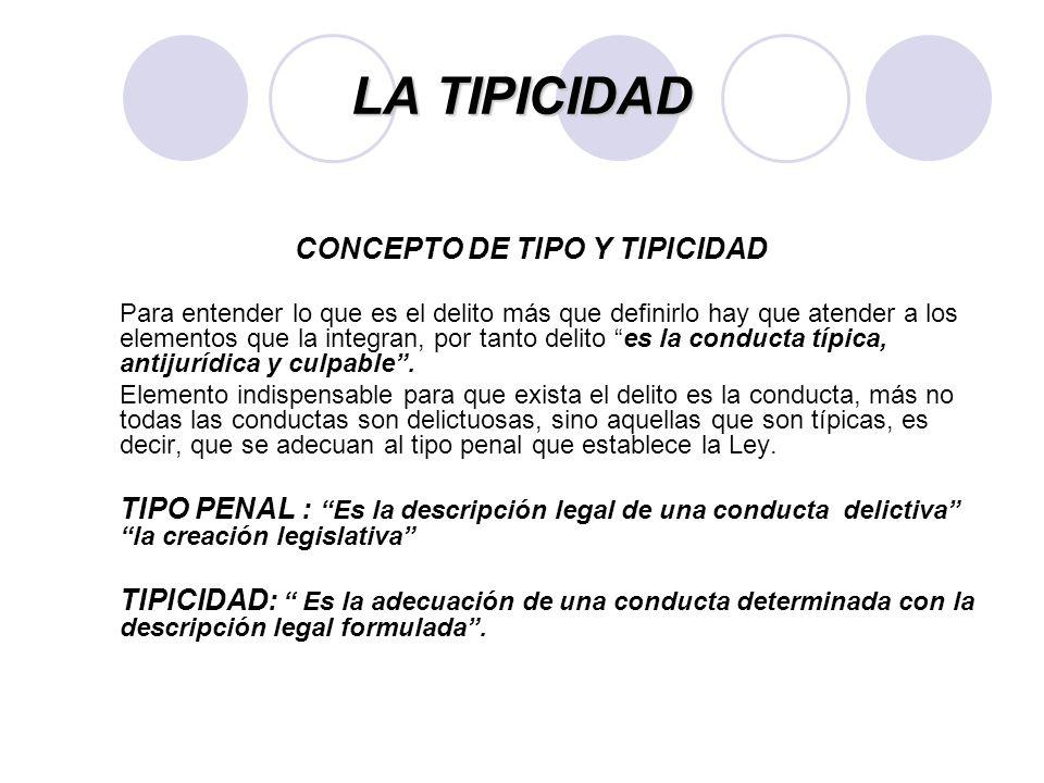 CONCEPTO DE TIPO Y TIPICIDAD