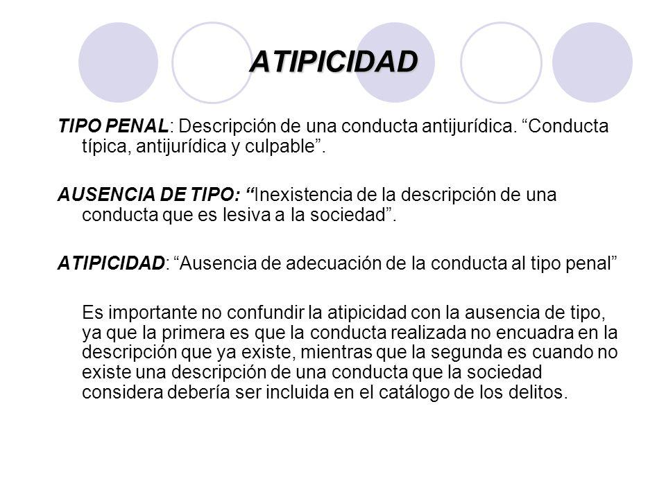 ATIPICIDAD TIPO PENAL: Descripción de una conducta antijurídica. Conducta típica, antijurídica y culpable .