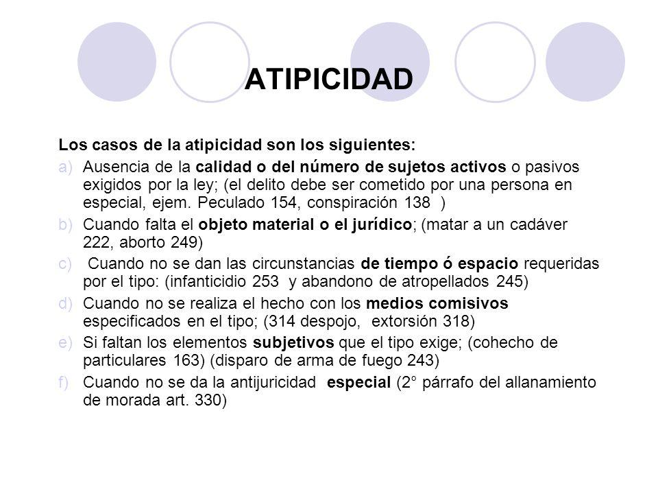 ATIPICIDAD Los casos de la atipicidad son los siguientes: