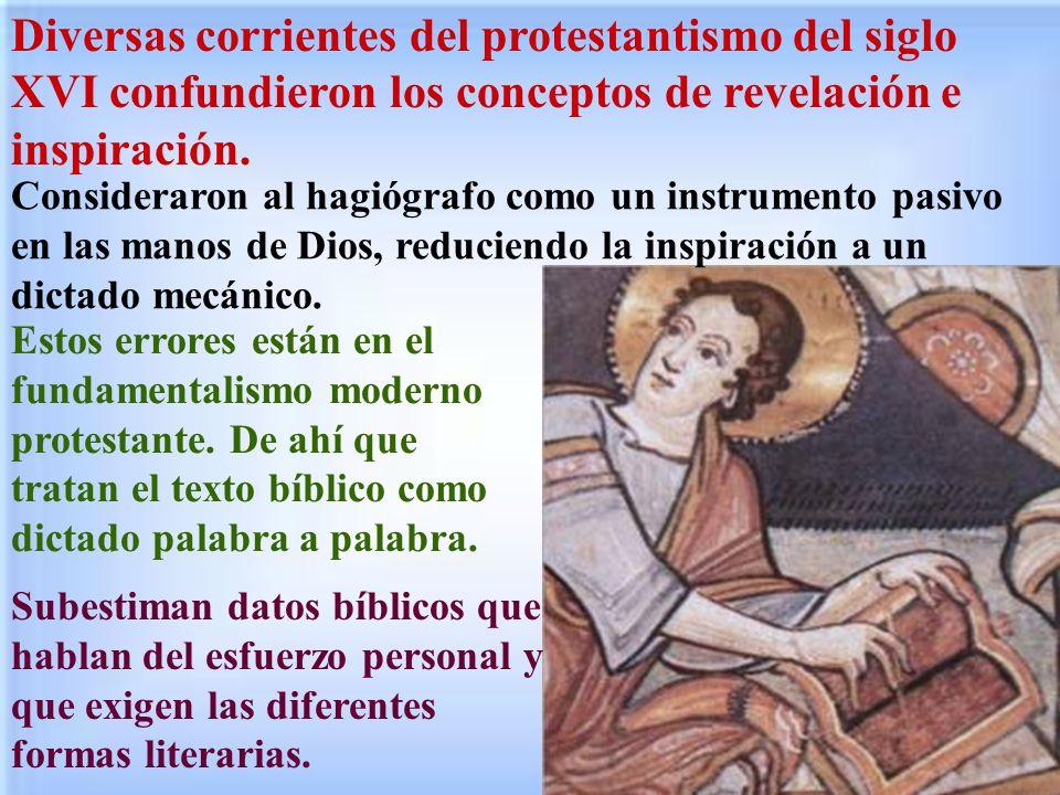 Diversas corrientes del protestantismo del siglo XVI confundieron los conceptos de revelación e inspiración.