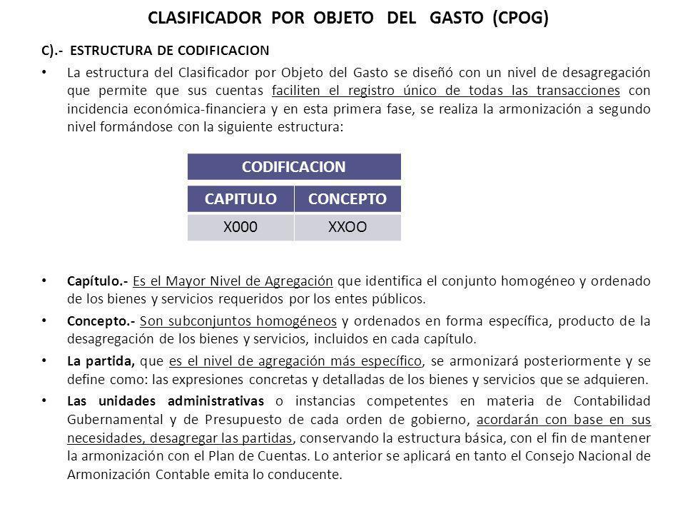 CLASIFICADOR POR OBJETO DEL GASTO (CPOG)