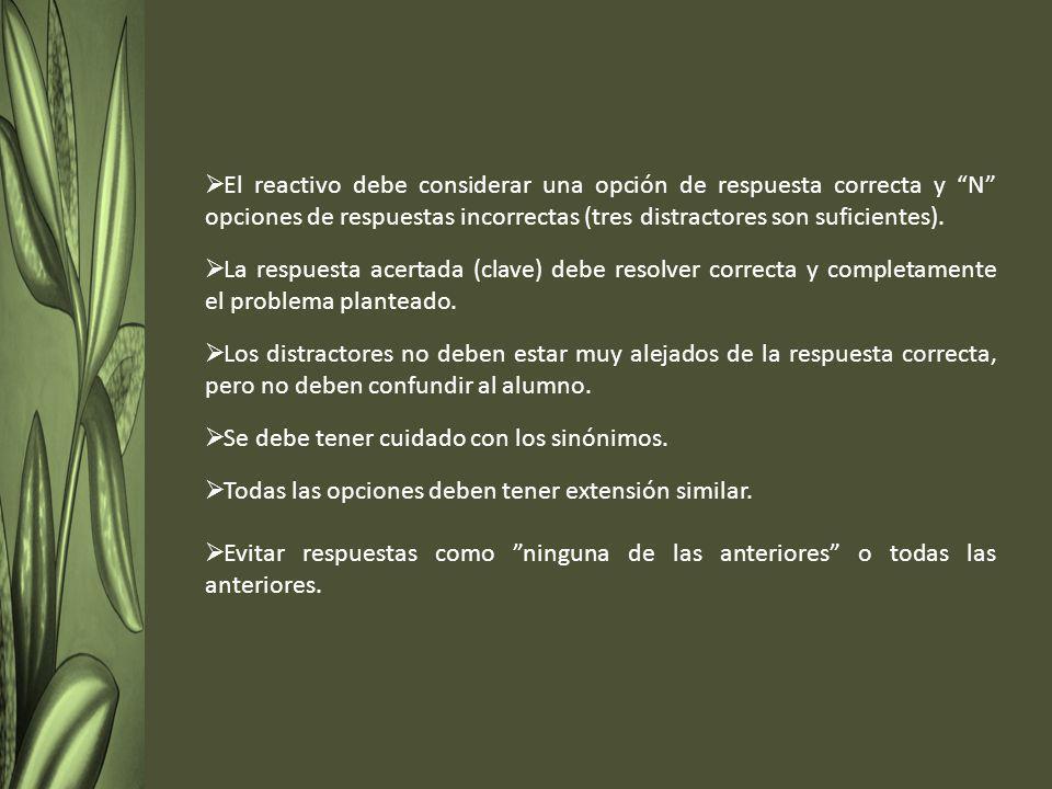El reactivo debe considerar una opción de respuesta correcta y N opciones de respuestas incorrectas (tres distractores son suficientes).
