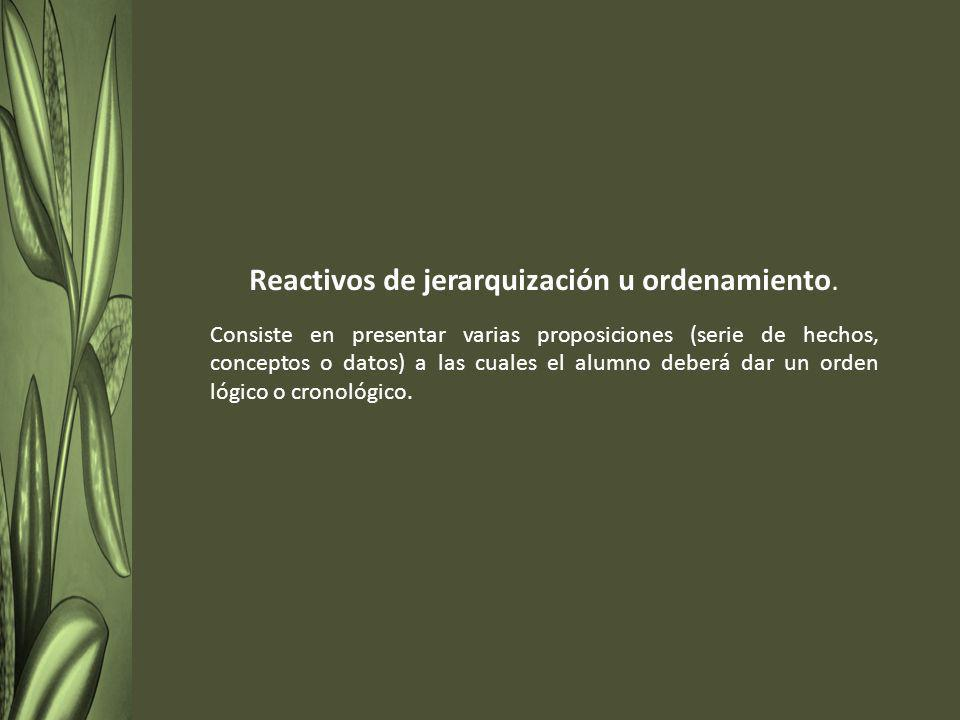 Reactivos de jerarquización u ordenamiento.