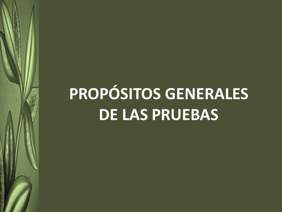 PROPÓSITOS GENERALES DE LAS PRUEBAS