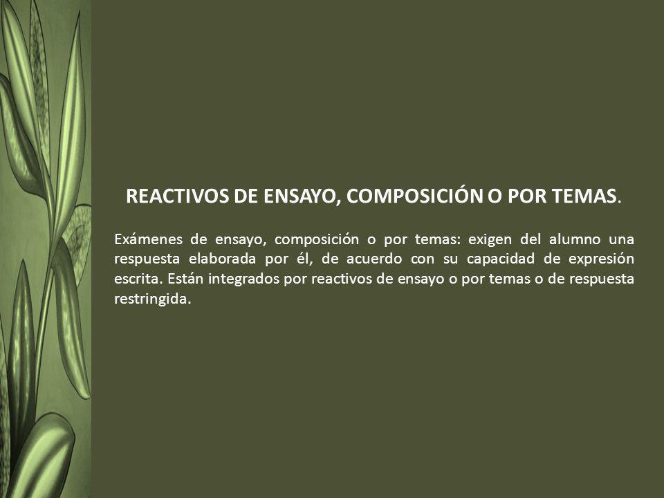 REACTIVOS DE ENSAYO, COMPOSICIÓN O POR TEMAS.