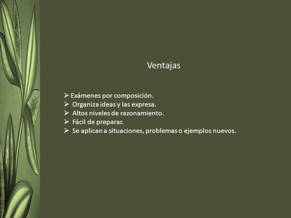 Ventajas Exámenes por composición. Organiza ideas y las expresa.
