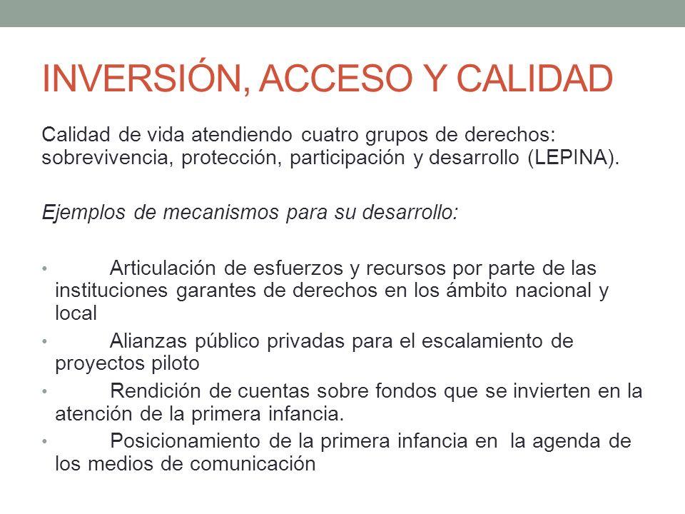 INVERSIÓN, ACCESO Y CALIDAD