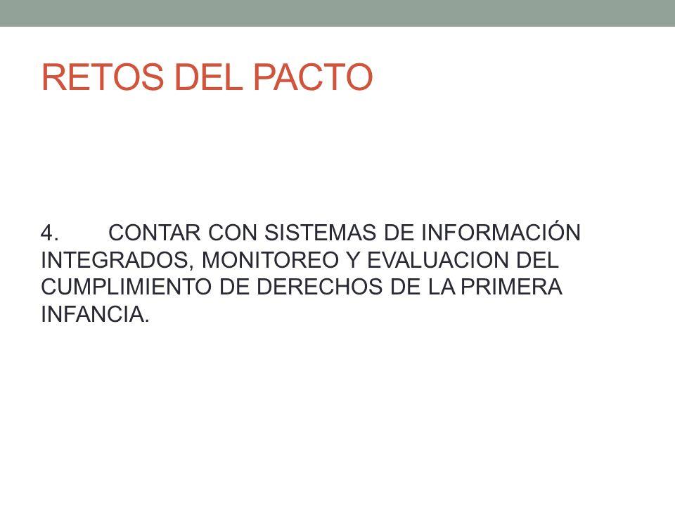 RETOS DEL PACTO4. CONTAR CON SISTEMAS DE INFORMACIÓN INTEGRADOS, MONITOREO Y EVALUACION DEL CUMPLIMIENTO DE DERECHOS DE LA PRIMERA INFANCIA.