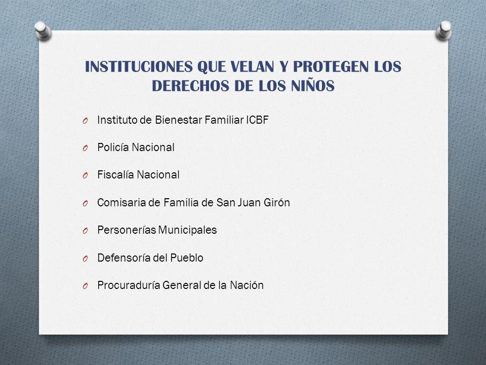 INSTITUCIONES QUE VELAN Y PROTEGEN LOS DERECHOS DE LOS NIÑOS