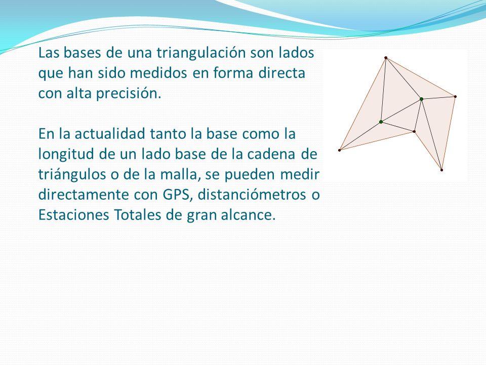 Las bases de una triangulación son lados que han sido medidos en forma directa con alta precisión.
