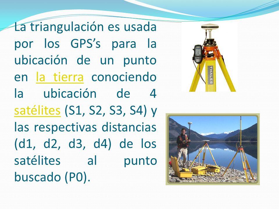 La triangulación es usada por los GPS's para la ubicación de un punto en la tierra conociendo la ubicación de 4 satélites (S1, S2, S3, S4) y las respectivas distancias (d1, d2, d3, d4) de los satélites al punto buscado (P0).
