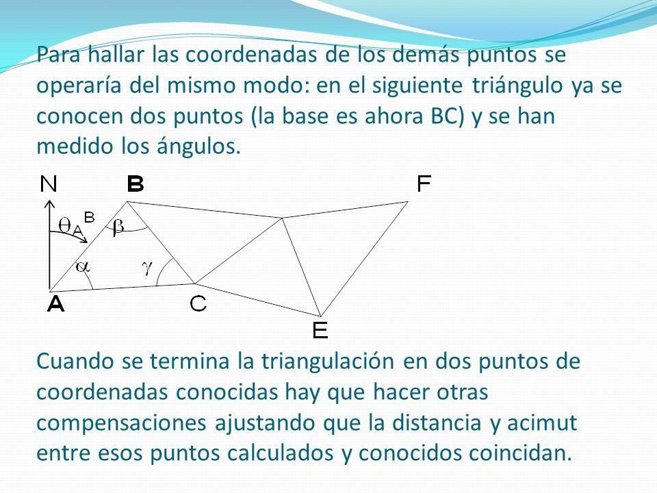 Para hallar las coordenadas de los demás puntos se operaría del mismo modo: en el siguiente triángulo ya se conocen dos puntos (la base es ahora BC) y se han medido los ángulos.