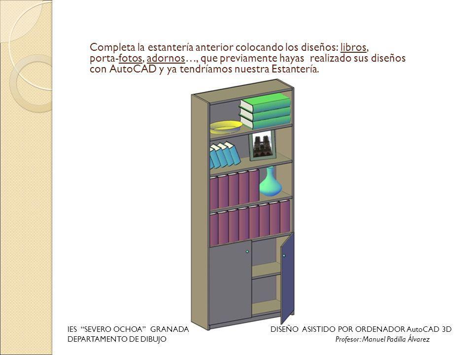 Completa la estantería anterior colocando los diseños: libros,