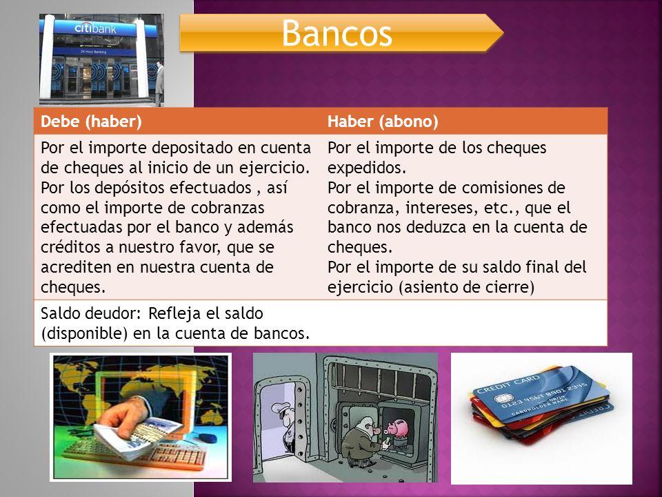 Bancos Debe (haber) Haber (abono)