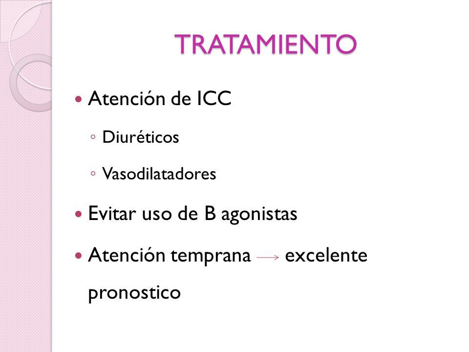 TRATAMIENTO Atención de ICC Evitar uso de B agonistas