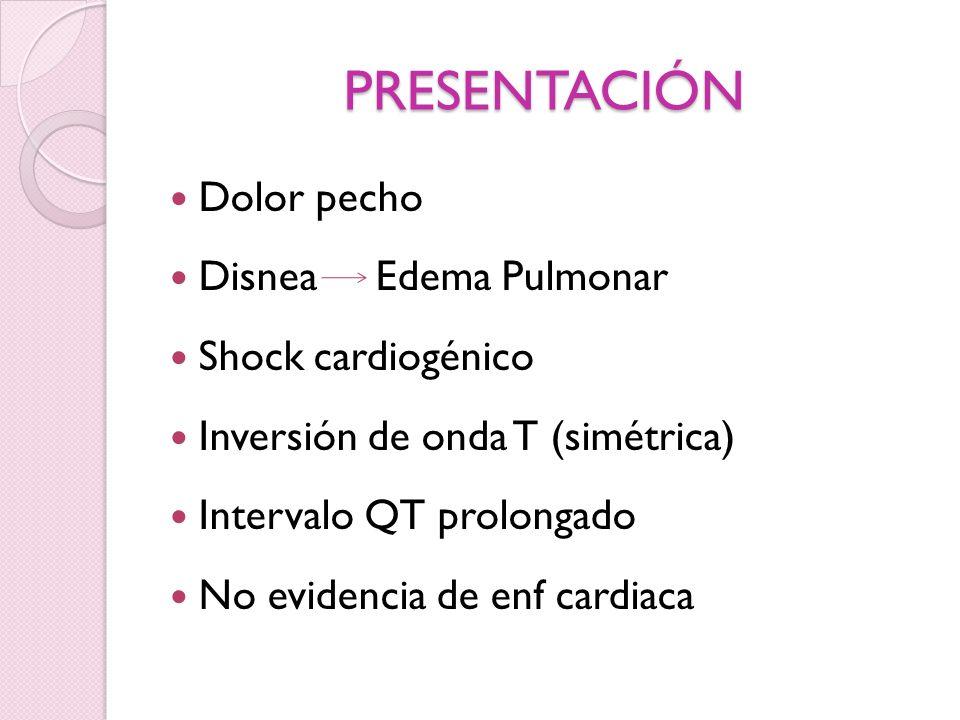 PRESENTACIÓN Dolor pecho Disnea Edema Pulmonar Shock cardiogénico