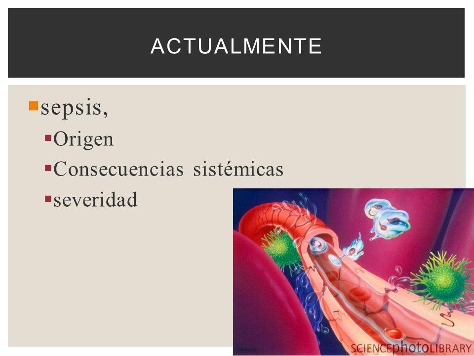 Actualmente sepsis, Origen Consecuencias sistémicas severidad