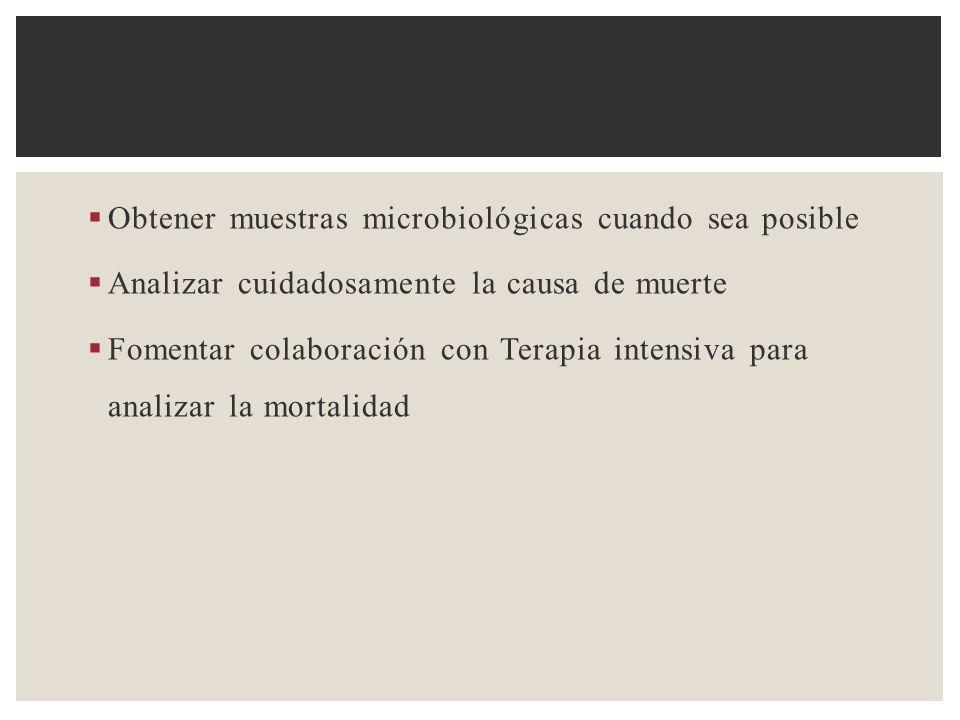 Obtener muestras microbiológicas cuando sea posible