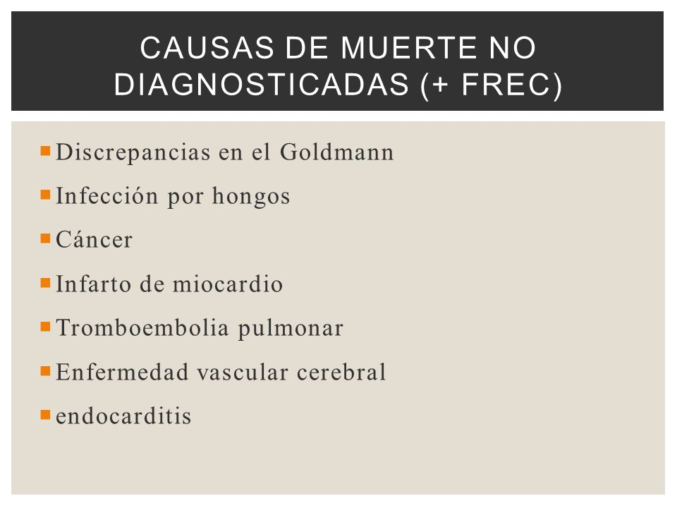 Causas de Muerte NO diagnosticadas (+ frec)