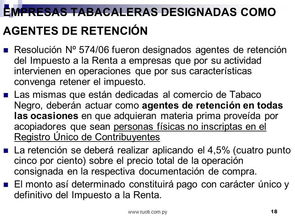 EMPRESAS TABACALERAS DESIGNADAS COMO AGENTES DE RETENCIÓN
