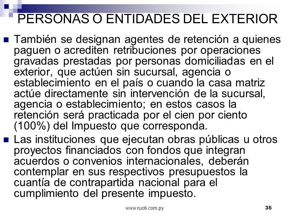 PERSONAS O ENTIDADES DEL EXTERIOR