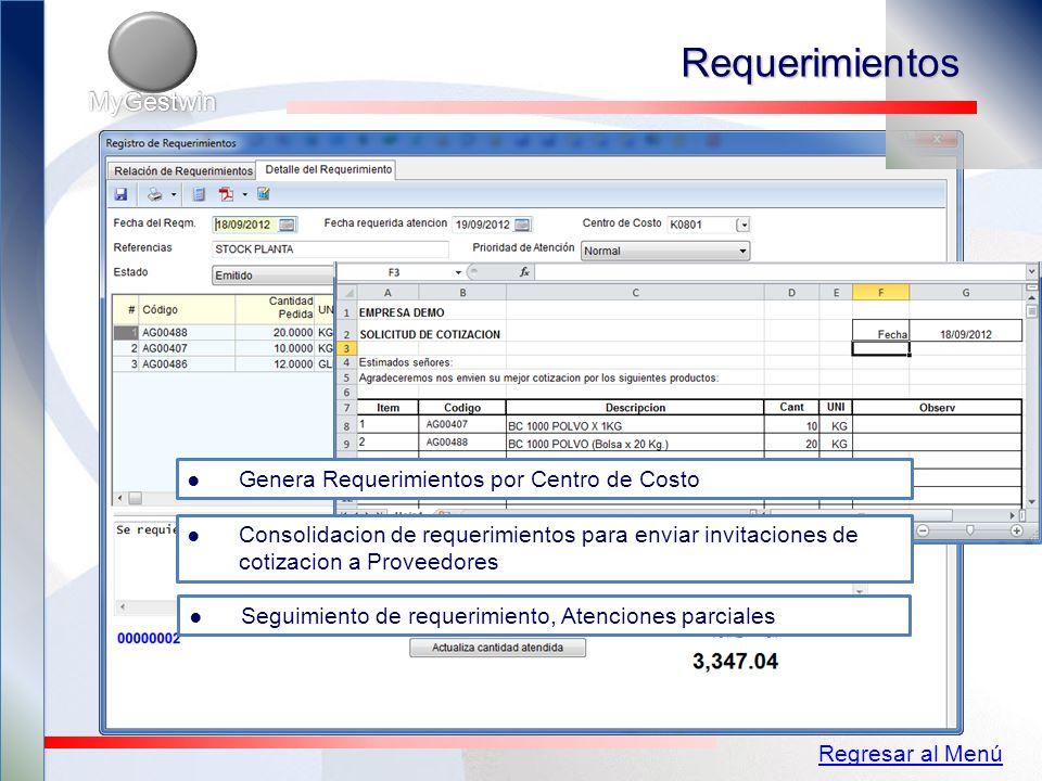 Requerimientos MyGestwin Genera Requerimientos por Centro de Costo