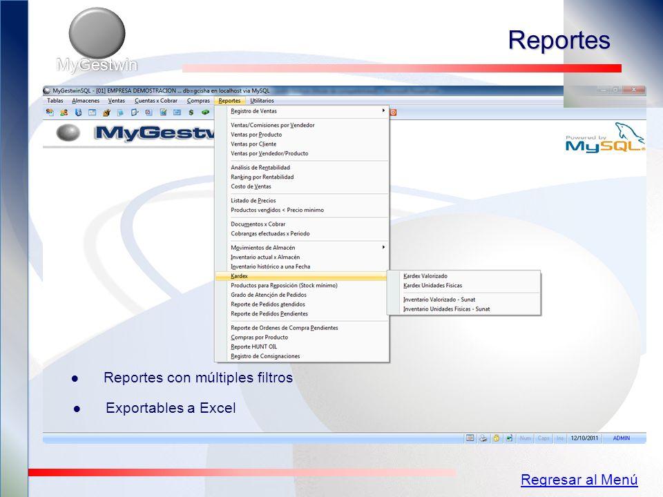 Reportes MyGestwin Reportes con múltiples filtros Exportables a Excel
