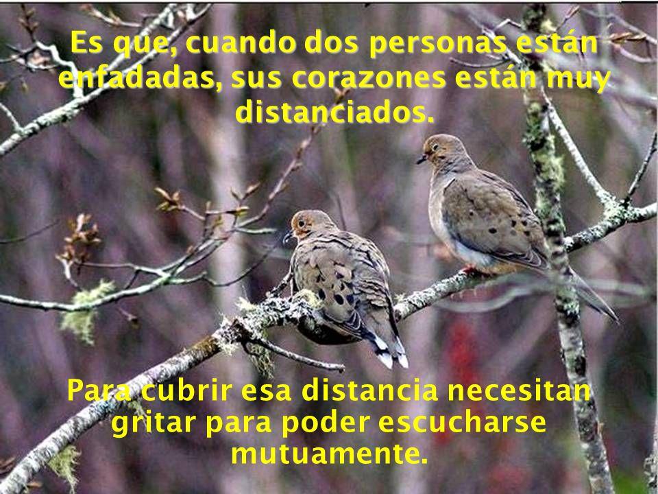 Es que, cuando dos personas están enfadadas, sus corazones están muy distanciados.