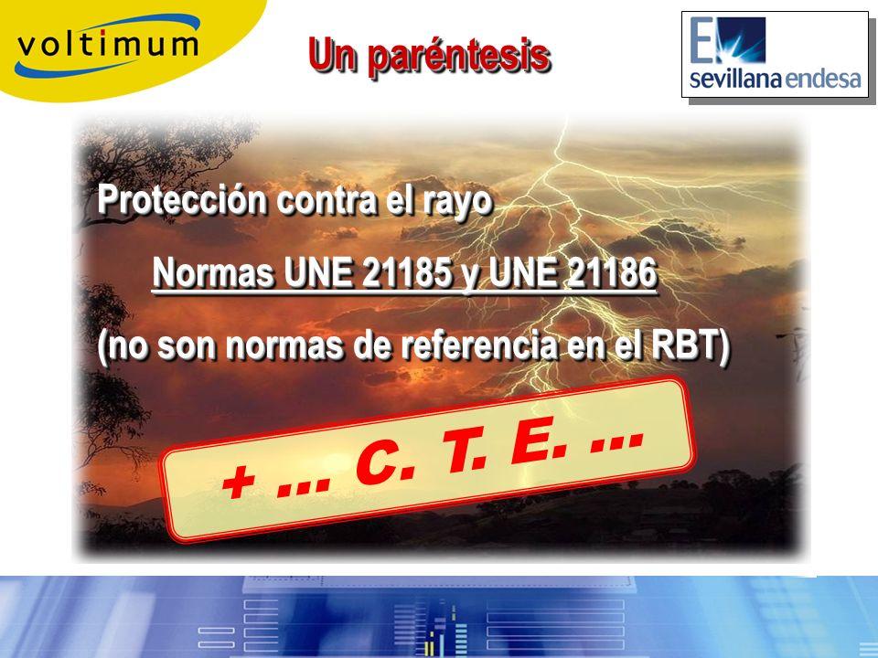 + … C. T. E. … Un paréntesis Protección contra el rayo
