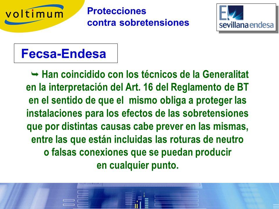 Fecsa-Endesa Protecciones contra sobretensiones