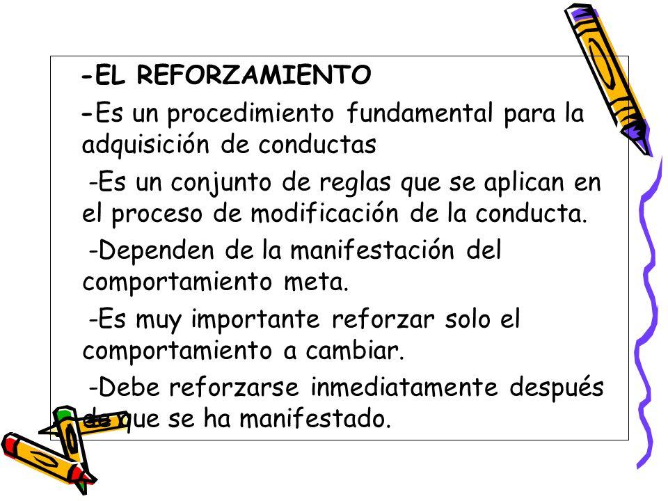 -EL REFORZAMIENTO -Es un procedimiento fundamental para la adquisición de conductas.