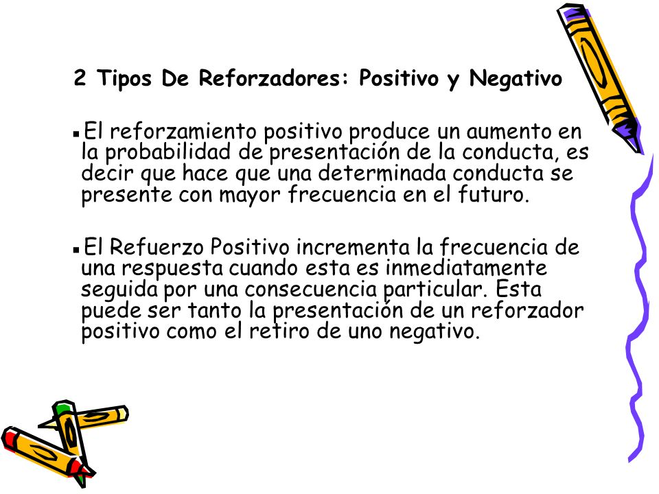 2 Tipos De Reforzadores: Positivo y Negativo