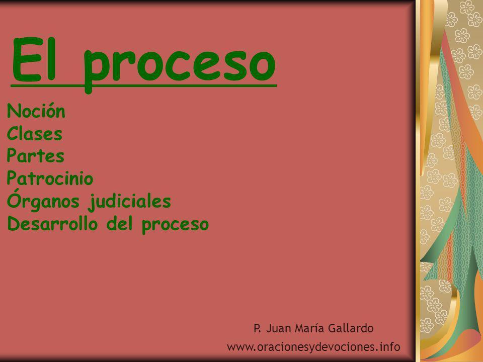 El proceso Noción Clases Partes Patrocinio Órganos judiciales