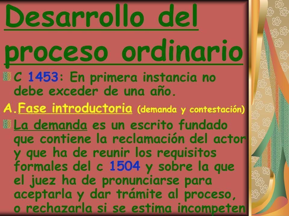 Desarrollo del proceso ordinario