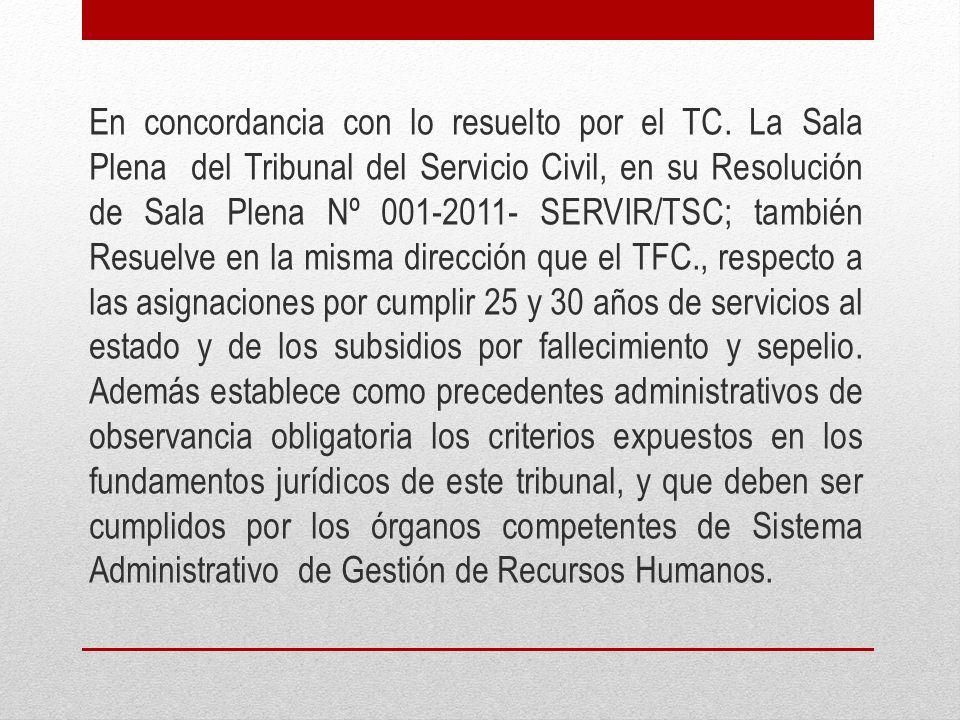 En concordancia con lo resuelto por el TC