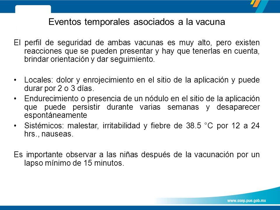 Eventos temporales asociados a la vacuna