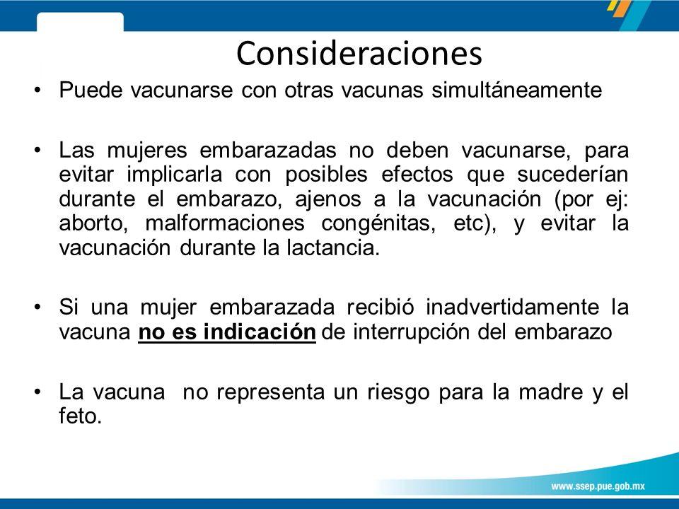 Consideraciones Puede vacunarse con otras vacunas simultáneamente