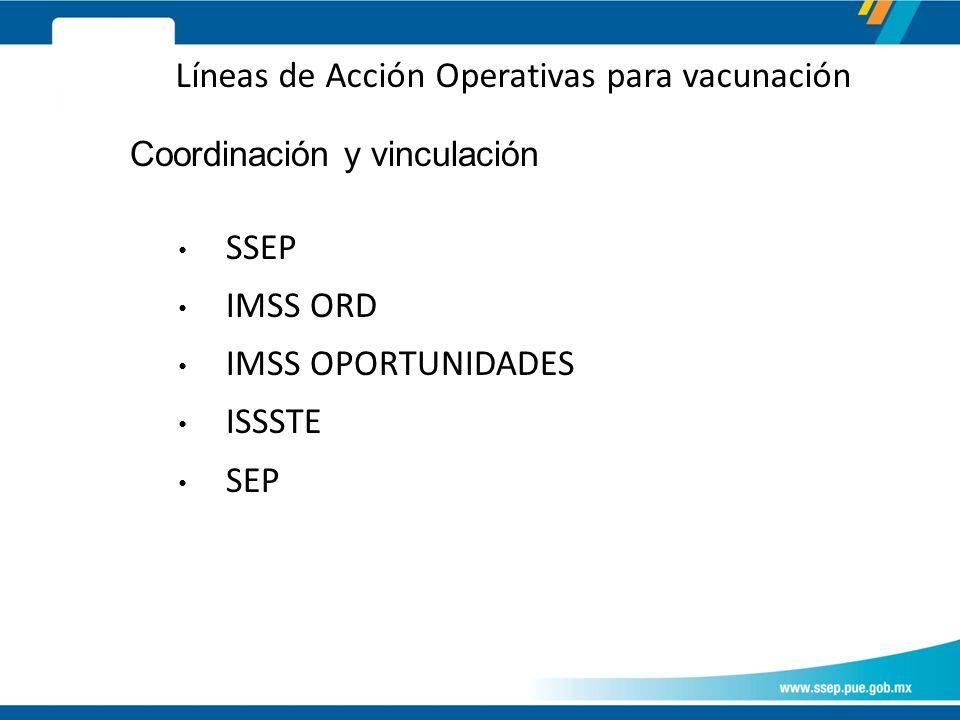 Líneas de Acción Operativas para vacunación