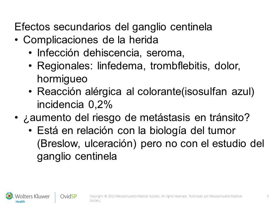 Efectos secundarios del ganglio centinela Complicaciones de la herida