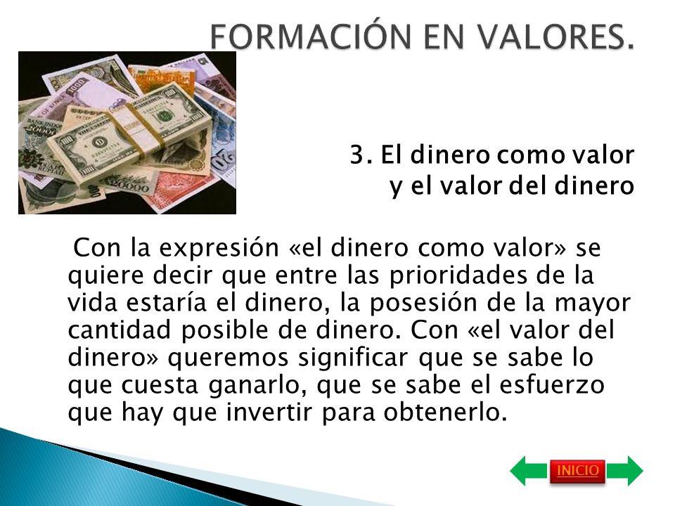 FORMACIÓN EN VALORES. 3. El dinero como valor y el valor del dinero