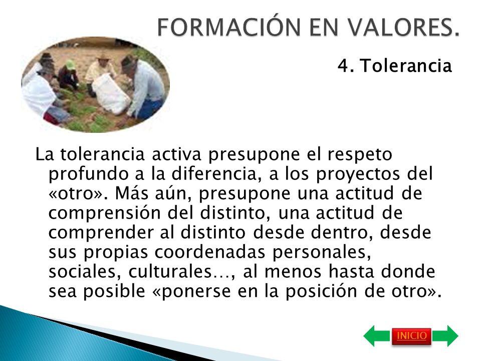 FORMACIÓN EN VALORES. 4. Tolerancia