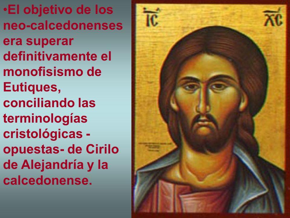 El objetivo de los neo-calcedonenses era superar definitivamente el monofisismo de Eutiques, conciliando las terminologías cristológicas - opuestas- de Cirilo de Alejandría y la calcedonense.