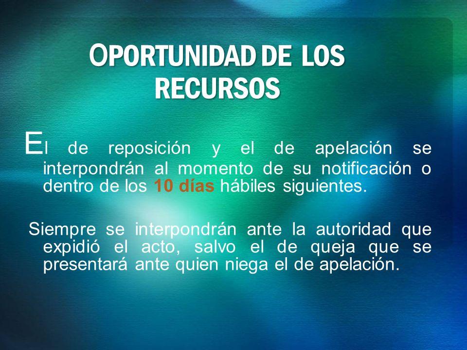 OPORTUNIDAD DE LOS RECURSOS