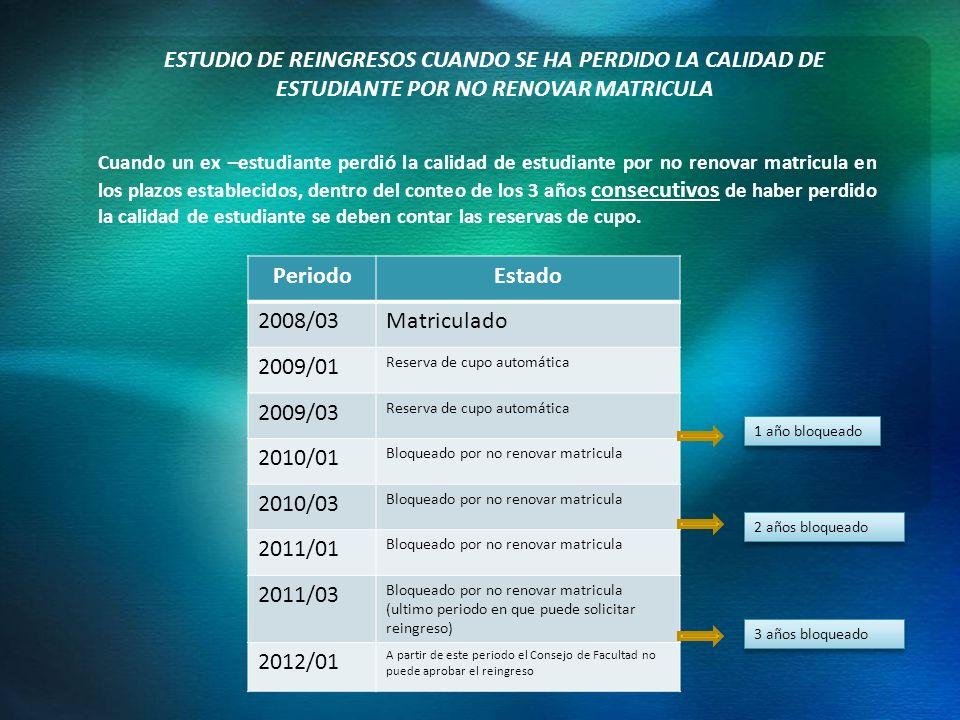 ESTUDIO DE REINGRESOS CUANDO SE HA PERDIDO LA CALIDAD DE ESTUDIANTE POR NO RENOVAR MATRICULA