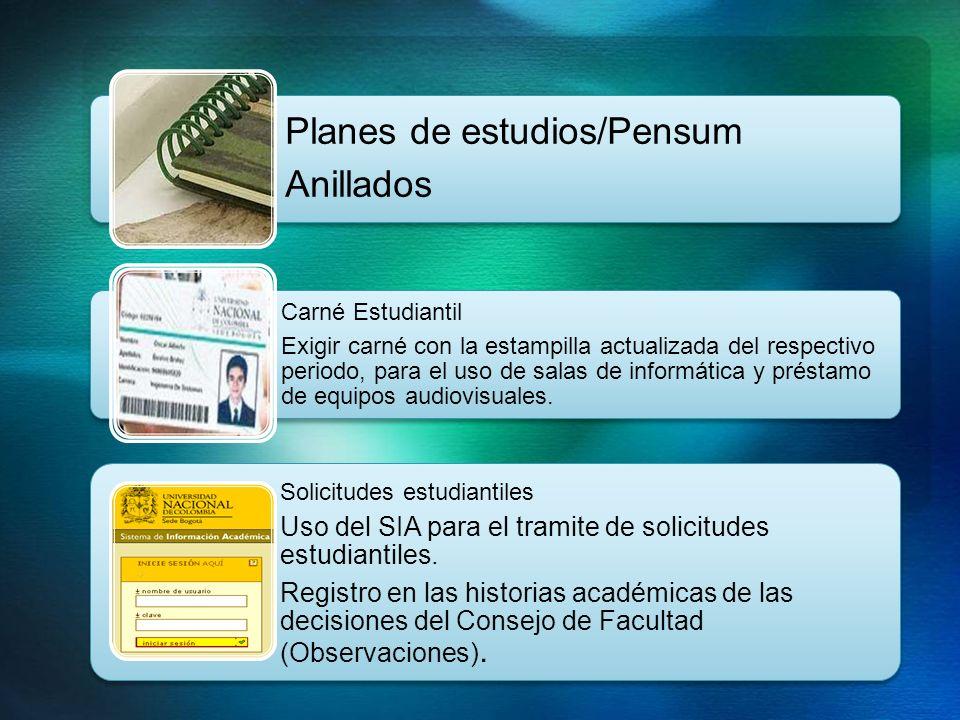 Planes de estudios/Pensum Anillados
