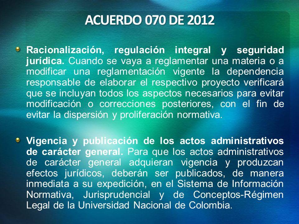 ACUERDO 070 DE 2012