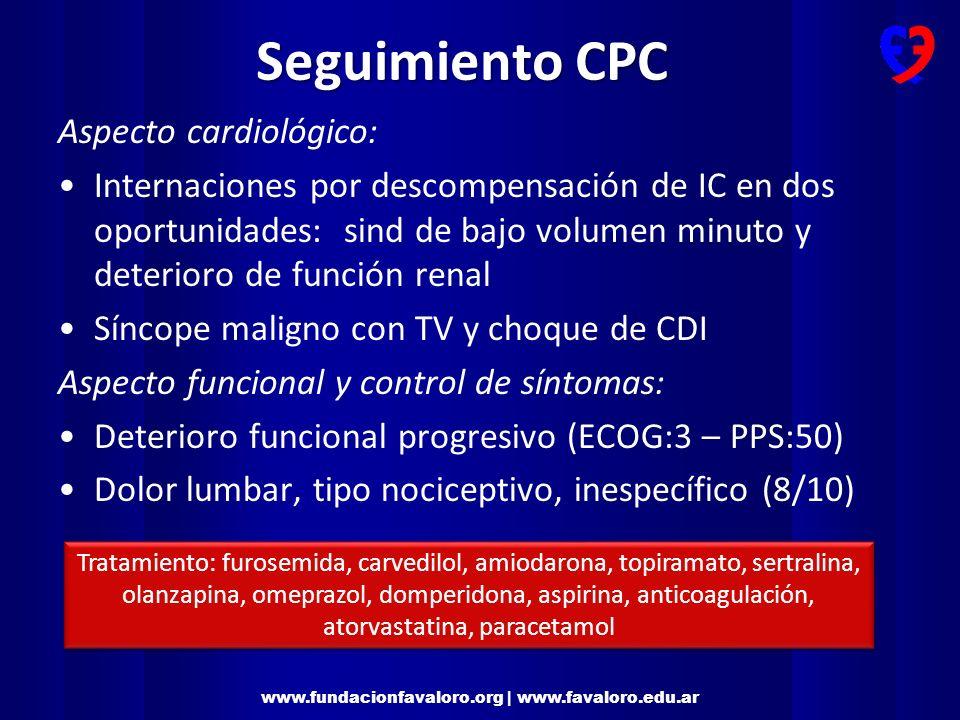 Seguimiento CPC Aspecto cardiológico: