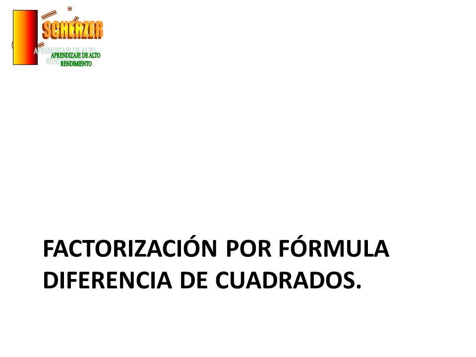Factorización por fórmula diferencia de cuadrados.