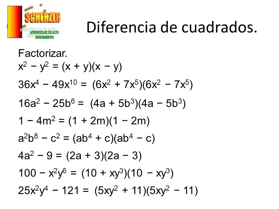 Diferencia de cuadrados.