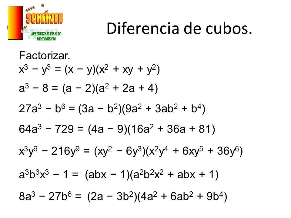Diferencia de cubos. SCHERZER APRENDIZAJE DE ALTO RENDIMIENTO